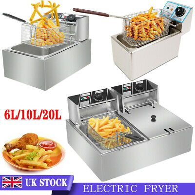 £37.98 • Buy 10L/20L Commercial Electric Deep Fryer Fat Chip Single/Dual Tank Stainless Steel