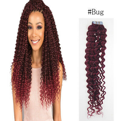 18  #BUG Glue-Thick CURLY Tape-In Russian Remy Human Hair Extensions UK STOCK • 13.99£