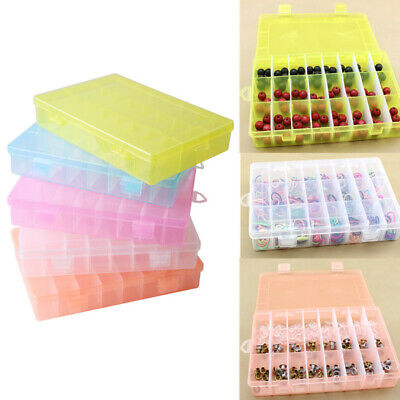 10/24 Compartment Plastic Clear Jewelry Bead Organizer Box Storage Container • 3.99£