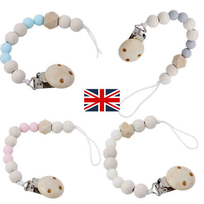 UK Baby Dummy Clip Holder Pacifier Clips Soother Chains Wooden Bead Teething • 3.29£