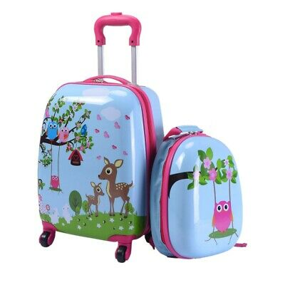 Children's Animal Print ABS Trolley Suitcase And Backpack Luggage • 20.99£