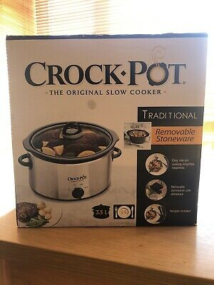 Crock Pot Slow Cooker - 3.5L In Silver - Brand New Still Boxed (SCV400PSS 1UK) • 18£