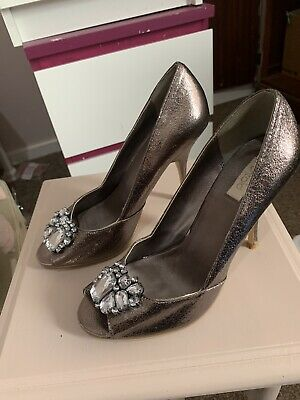 Gorgeous Bronze Silver Size 5 Stiletto Shoes And Matching Bag • 20£