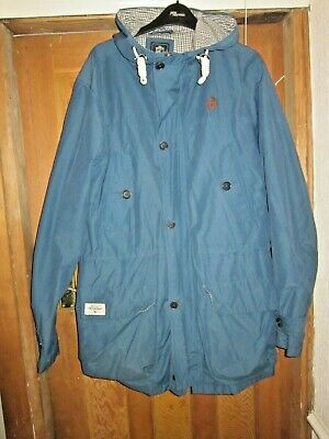 One True Saxon Football Casual Parka,petrol Blue,2xl,house Check Lining • 14.99£