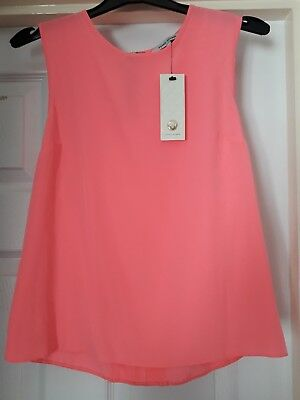 Brand New River Island Women's Sleeveless Top Size 8 In Pink With Shop Tags  • 10£