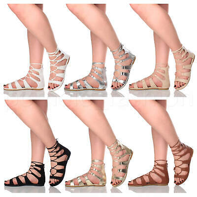 £11.99 • Buy Womens Ladies Lace Up Tie Strappy Summer Boho Ghillie Gladiator Sandals Size