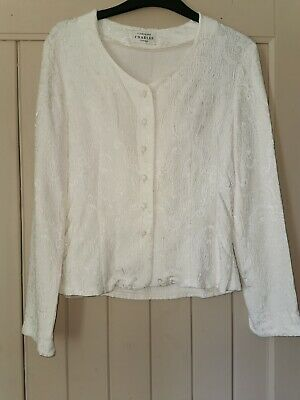 Caroline Charles Size 10 Ivory Cream Top Jacket Blouse • 13.99£
