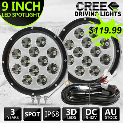 AU119.99 • Buy Pair 9 Inch Cree Round Black LED Spot Driving Lights Offroad Truck 4x4 ATV +Wire