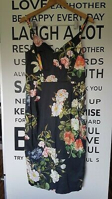 AU15 • Buy Asos Black Floral Chintz Style Wiggle Dress 12-14