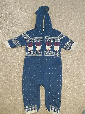 Baby Boy Christmas Outfit Knitted Hooded Romper Boots Mini Club Age 3-6 Months • 1.99£