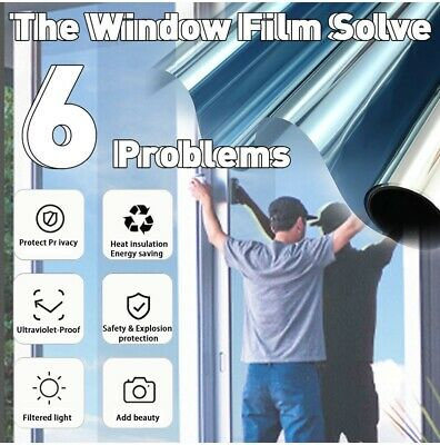 One Way Mirror Window Film Reflective Home Privacy Solar Tint Foil Glass Sticker • 7.99£
