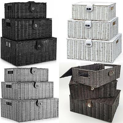 Faboer Set Of 3 Resin Wicker Woven Storage Baskets Hamper Box With Lid & Lock • 19.95£