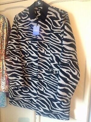 £20 • Buy Zebra Inverted Collar Coat Jacket By Missguided