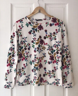 M&S Collection Crew Neck Floral Print Sweatshirt / Long-sleeved Top Size 6 • 7.99£