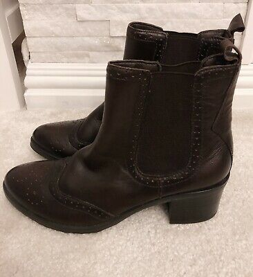 Sainsburys TU Dark Brown Leather Ankle Boots Size 6 • 0.99£