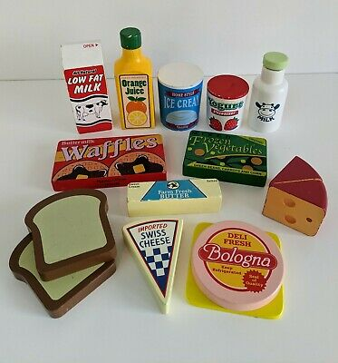 Melissa And Doug Wooden Fridge Food Set Pretend Play Kitchen Shopping • 7.50£