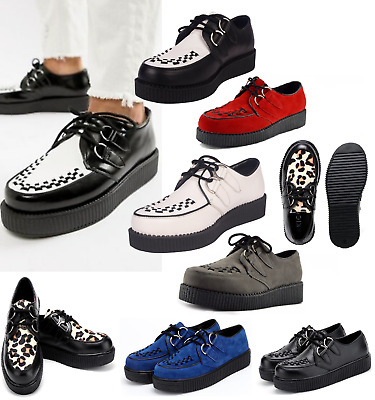 Womens Flat Platform Teddy Boy Lace Up Goth Creepers Shoes Boots Ladies Shoes UK • 34.98£