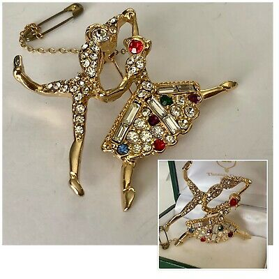 Vintage Jewellery Delightful Gold & Crystal Baguette Dancing Couple Brooch Pin • 0.99£