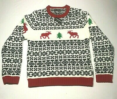 $32 • Buy NEW Skedouche Ugly Christmas Sweater Mens 2XL White Red Reindeer Trees Crew Neck