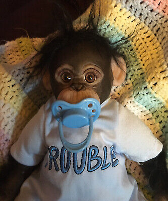 "Little Ubo Reborn Baby Chimp / Monkey Ashton Drake  Cindy Sales Silicon 14"" • 69.99£"