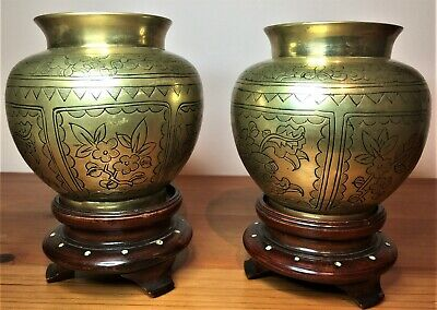 Pair Of Chinese 20th Century Bronze Metal Squat Vases On Hardwood Stands • 5£