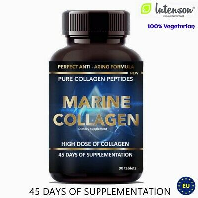 Marine Collagen 90 Tablets Perfect Anti Aging Formula -100% Vegeterian High Dose • 18.99£