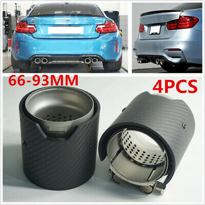 $157.40 • Buy 4X 66-93mm Real Carbon Fiber Exhaust Tip Pipe For BMW M2 F87 M3 F80 M4 M5 F10 M6