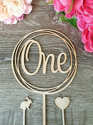 AU15.95 • Buy One Cake Topper MADE IN AUSTRALIA Rustic Wood 1st Birthday Party Wild Pink Blue