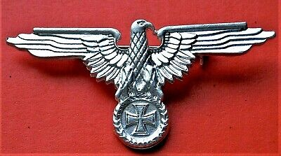 Ww2 German Military Cap Badge Eagle And Iron Cross  Silvered Repro Nice • 4.99£