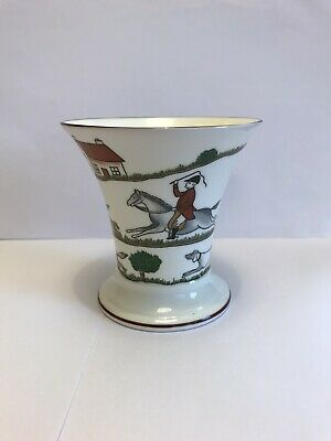 Beautiful Coalport Hunting Scene Trumpet Posy Vase • 10£