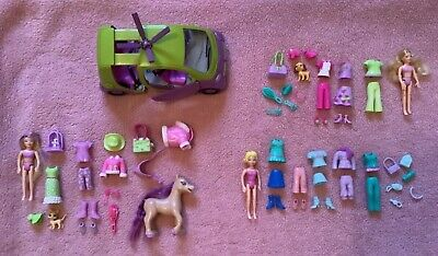 Polly Pocket Bundle, 3 Sets, Doll, Clothes, Accessories, Animals & Car • 10£