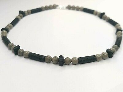 £20 • Buy Angelite, Lava Stone And Coconut Shel Boys Necklace. Baby Shower, Christening