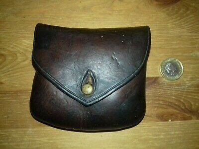 Brown Leather Pistol Ammo Pouch, From WWI Or WWII. • 49£