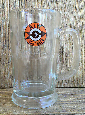 A&W Root Beer Glass Mug Super Thick & Heavy Glass Vintage Old Print Design • 14.99£
