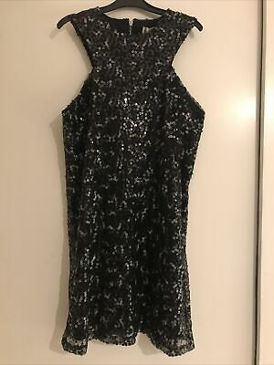 Ladies Hearts &  Bows Black Sequinned Sleeveless Dress Size 10 Brand New • 1.99£