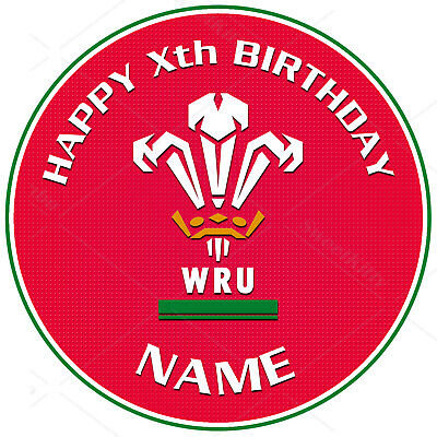 £6.47 • Buy Welsh Wales Rugby Cake Topper Round Personalised Edible Icing