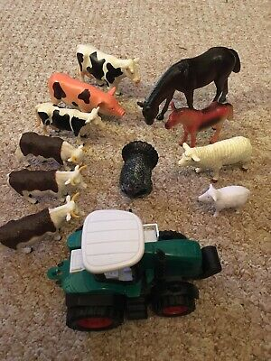 Farm Animal Toy Set With Tractor Great Stocking Filler • 3£