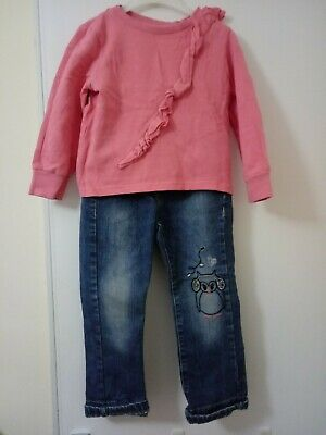 Girls Outfit Matalan Jumper And George Owl Jeans 3-4 Years • 8.99£