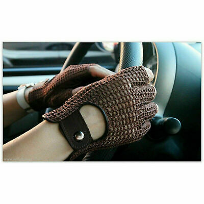 Retro Real Leather Men Fingerless Driving Cycle Gloves Unlined Chauffeur • 6.95£