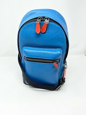 $207.55 • Buy COACH 1990 West Sling Pack Pop Detail Men's Leather Bluejay Blue Miami Red NWT