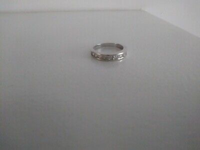 925 Silver Gemset (CZs) Half Eternity Ring  - Size O - Great Used Condition • 12.99£