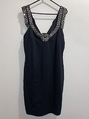 AU15 • Buy ASOS Black & Silver Sequin Beads Cocktail Dress Size 12 Party