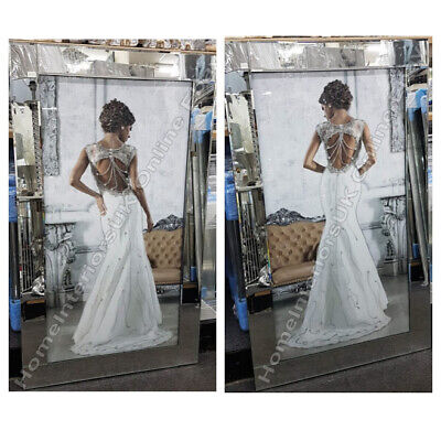 Figurative/lady White Dress Wall Art With Crystals, Liquid Art & Mirror Frames  • 199.99£