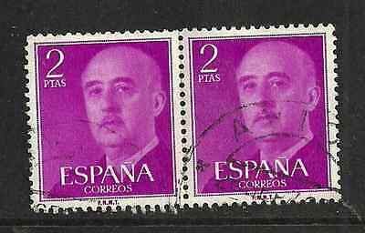 Spain Postal Issue - Used Pair 2pts Stamps - General Franco Definitive - 1956 • 0.29£