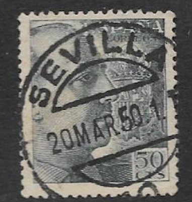 Spain Postal Issue Used Definitive Stamp 1940 General Franco, Great Post Cancel • 0.50£