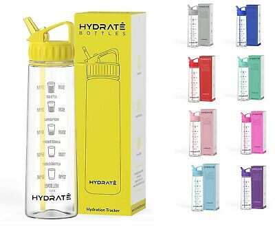HYDRATE Motivational 900ml Straw Water Bottle – With Time Markings BPA-Free • 15.49£