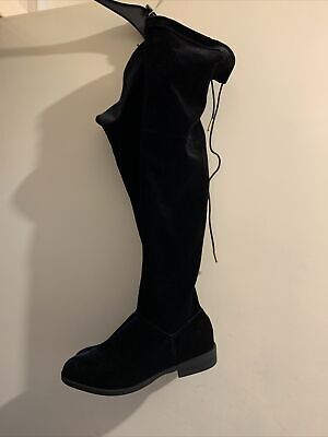 💖 Ladies Thigh High Stretch Black Velvet Boots Over The Knee Low Heel  Size4 💖 • 2.70£