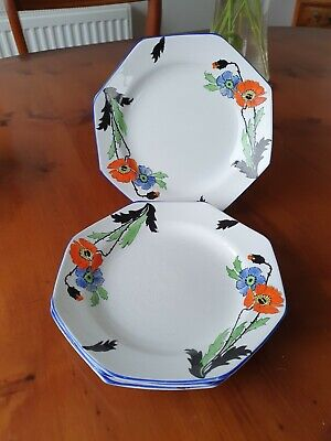 £14.50 • Buy 4 Thomas Forrester & Sons Ltd Phoenix Ware Hand Painted Hexagon Side Plates P500