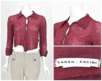 Womens Sarah Pacini Cropped Knit Cardigan Jumper Burgundy Button One Size • 25£