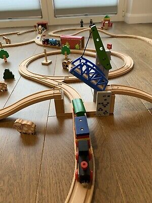 Large Wooden  Toy Train Track Set Bundle Job Lot 124 Pieces • 8.10£